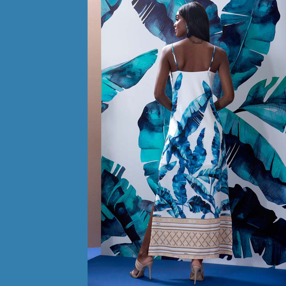 Vestido Longuete Folhagem Azul