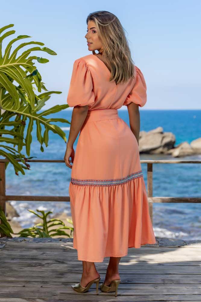 Vestido Longuete Tira Bordada
