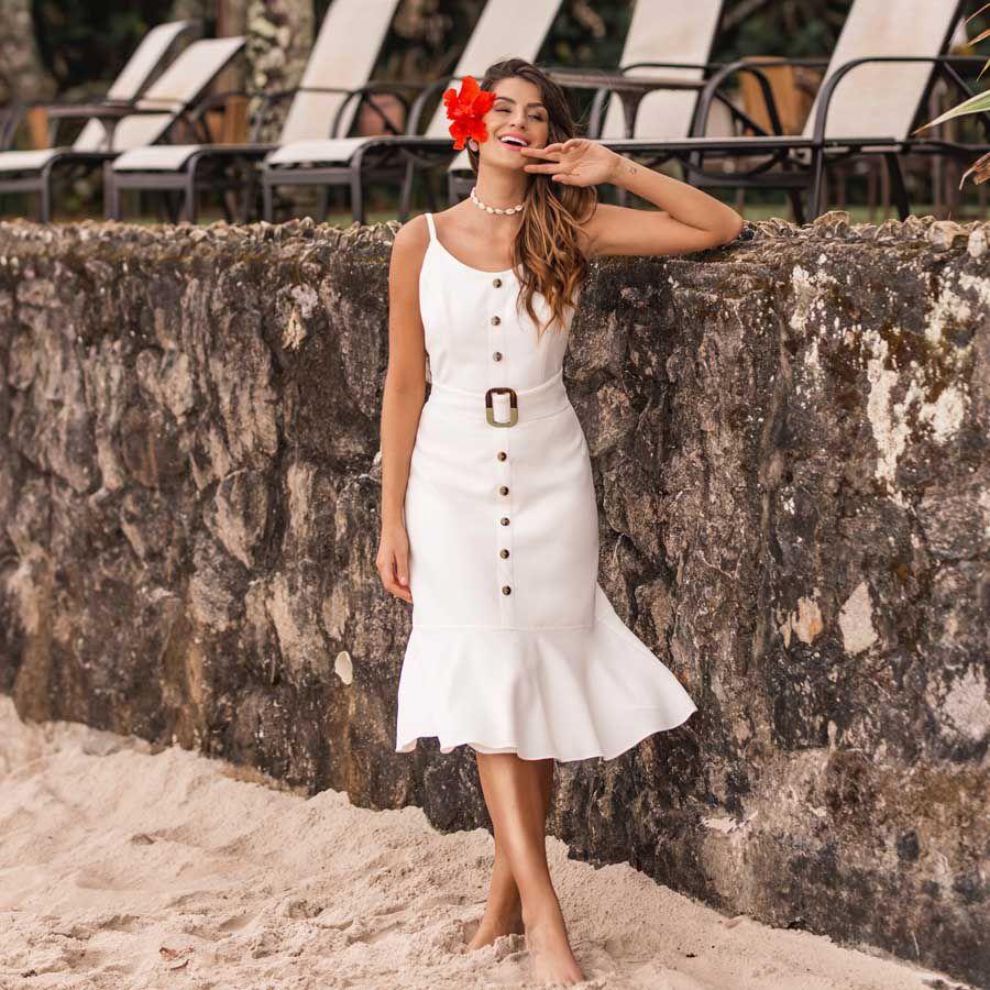 Vestido Midi Babado Off-white