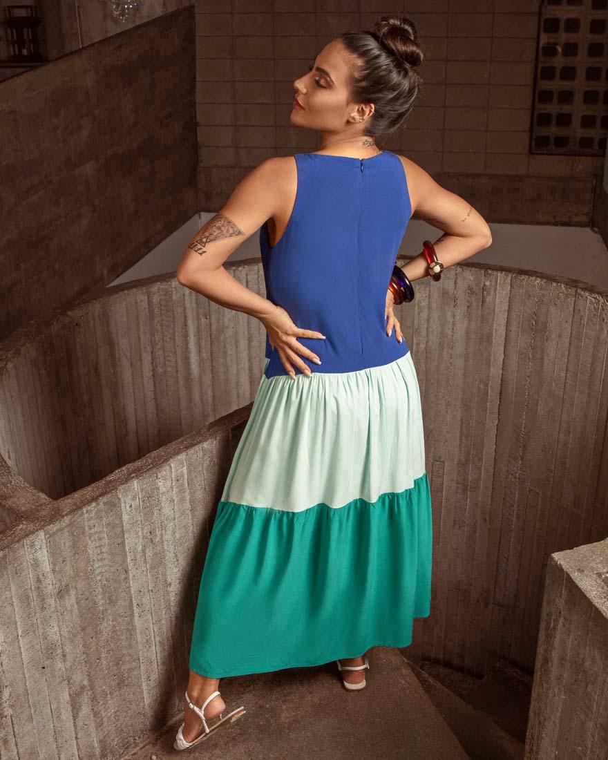 Vestido Recortes Tricolor