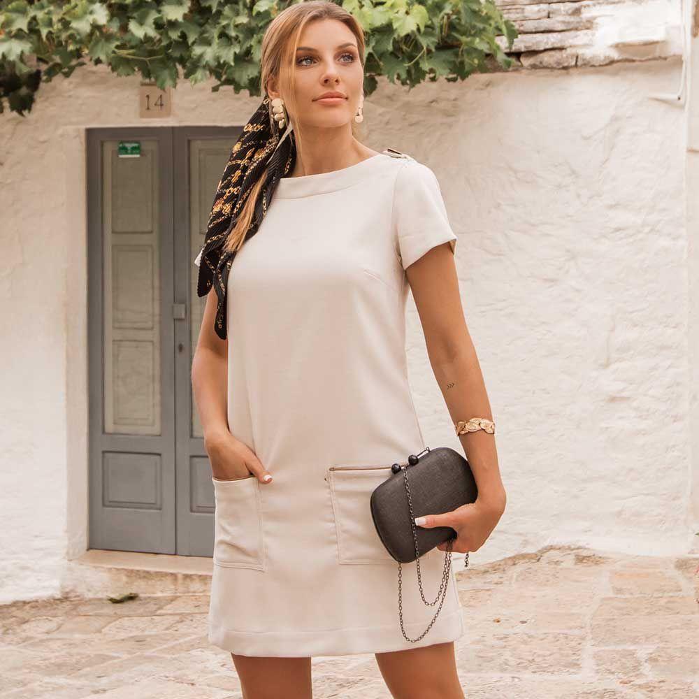 Vestido Reto com Decote Transpassado no Ombro Branco