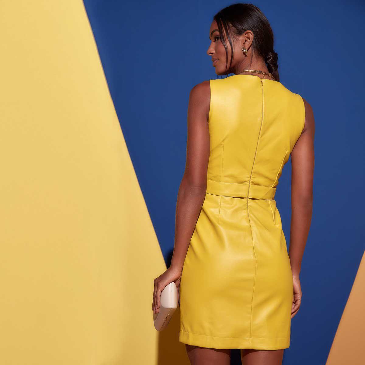 Vestido Tubinho Couro Amarelo