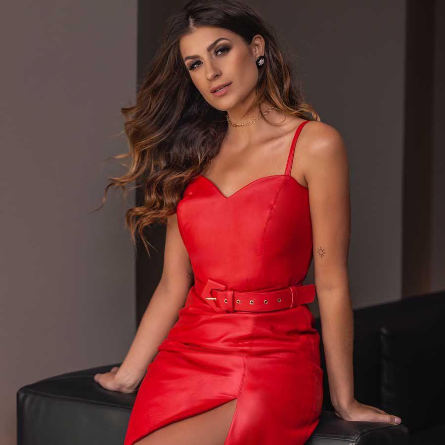 Vestido Tubinho Couro Vermelho