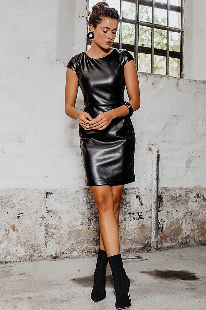 Vestido Tubinho de Couro Preto