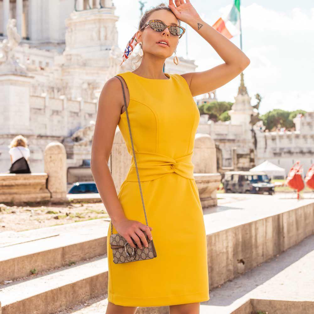 Vestido Tubinho de Malha Amarelo