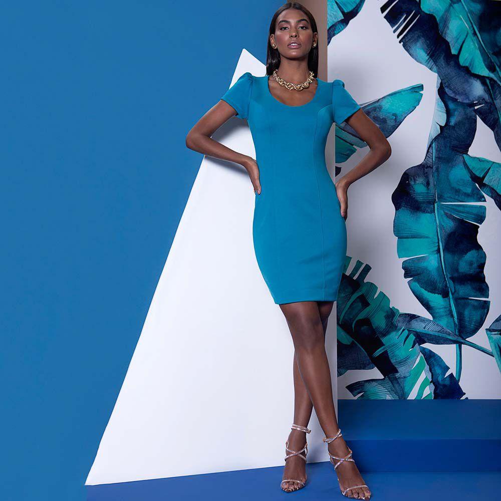 Vestido Tubinho Malha Azul