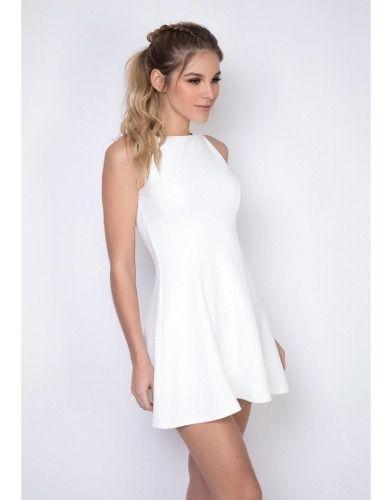 Vestido Curto Evasê Branco Lança Perfume