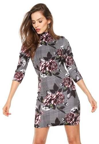 Vestido Curto Gola Alta Floral Lança Perfume