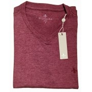 T-Shirt Camiseta Gola V Básica Bordô Mesclado Dudalina