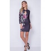 Vestido Decote Vazado Floral Lança Perfume
