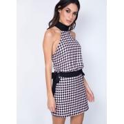 Vestido Frente Única Estampado Arlequin/Preto MyFT
