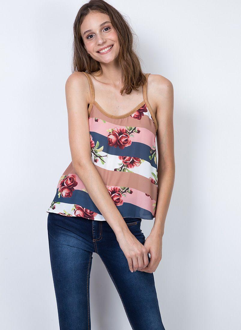 Blusa Floral Alcinha Couro MyFT