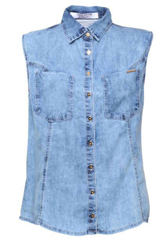 Camisa Feminina Básica Jeans Sem Mangas Lança Perfume