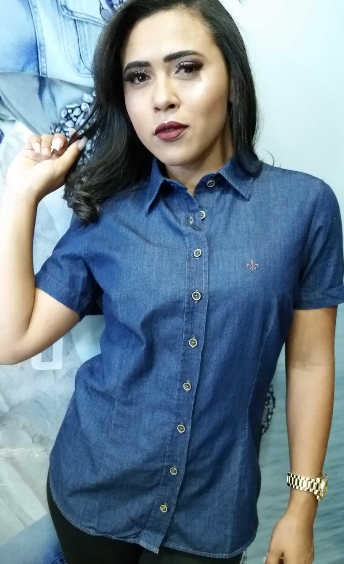 Camisa Feminina Meia Manga Jeans Dudalina