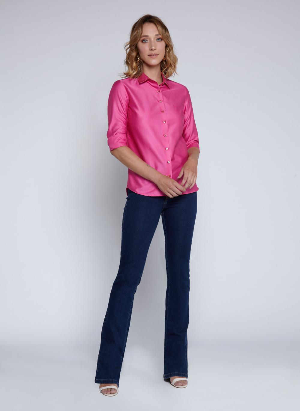 Camisa Feminina Regular Cetim Liso Dudalina