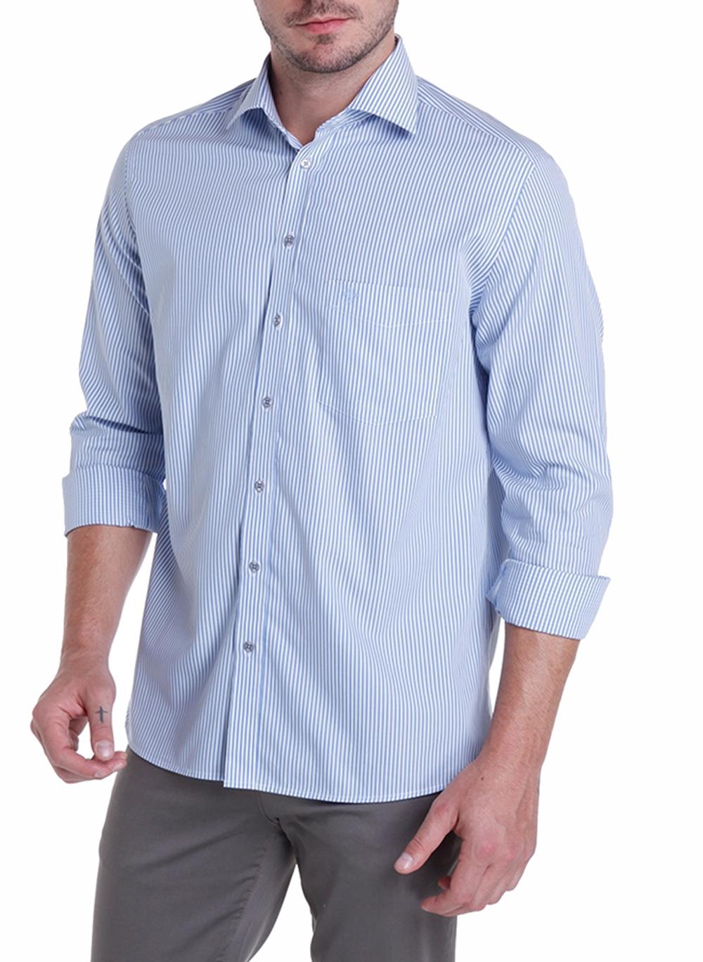 Camisa Masculina Comfort Manga Longa com bolso Dudalina
