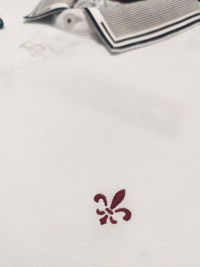 Camisa Masculina Gola Polo Branca Peitilho Estampado Dudalina