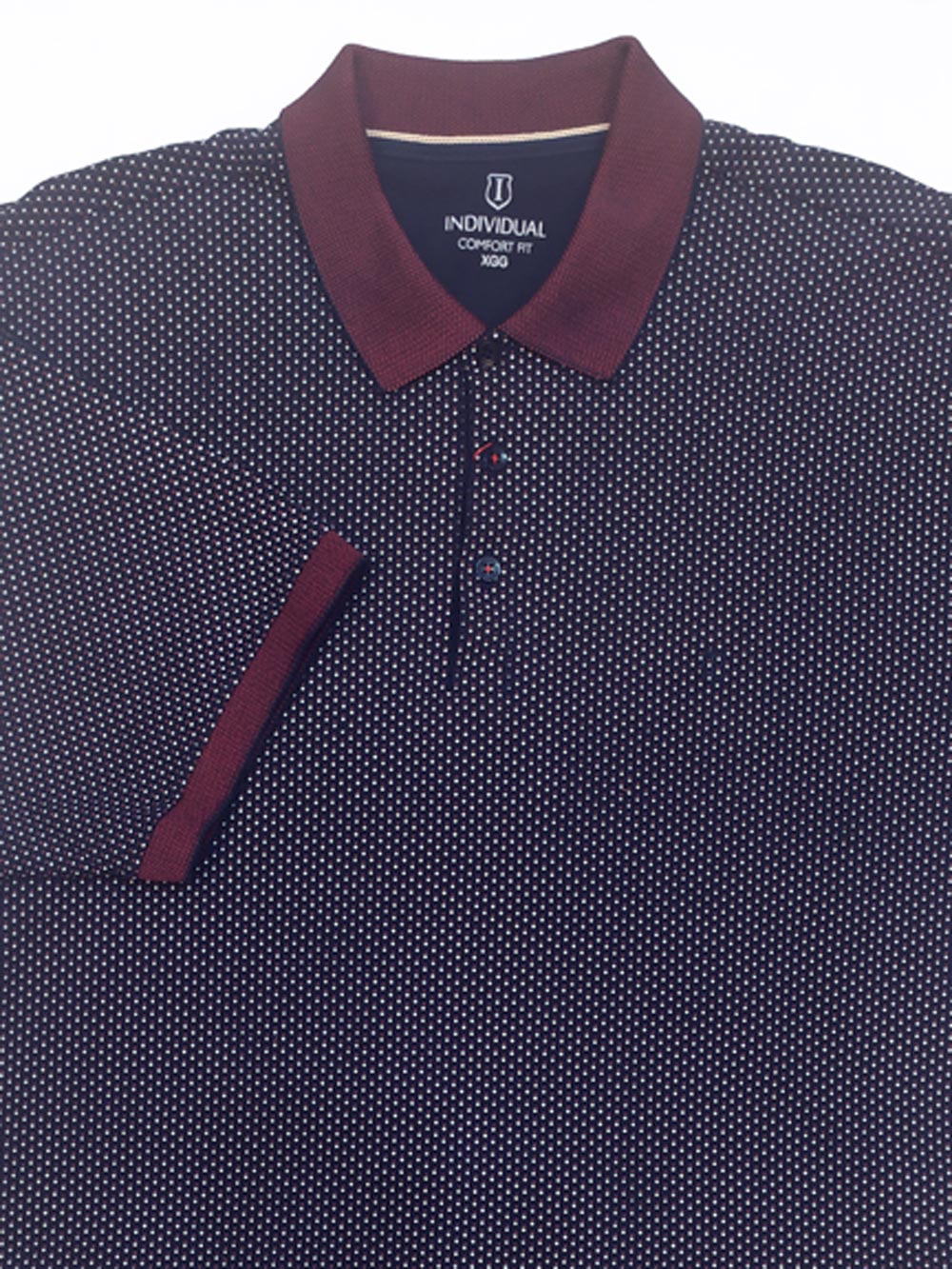 Camisa Polo Masculina Comfort Fit Poá Gola Trabalhada Individual