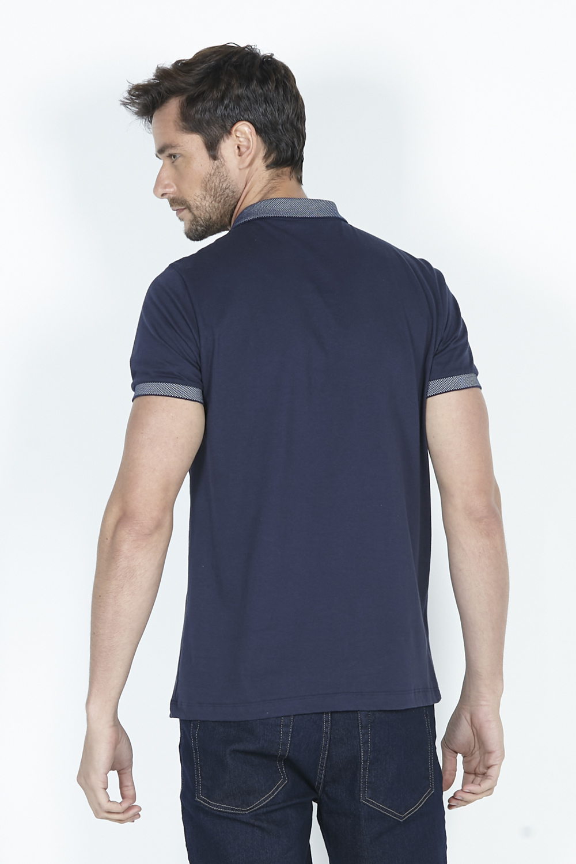 Camisa Polo Masculina Meia Malha Detalhes Dimy