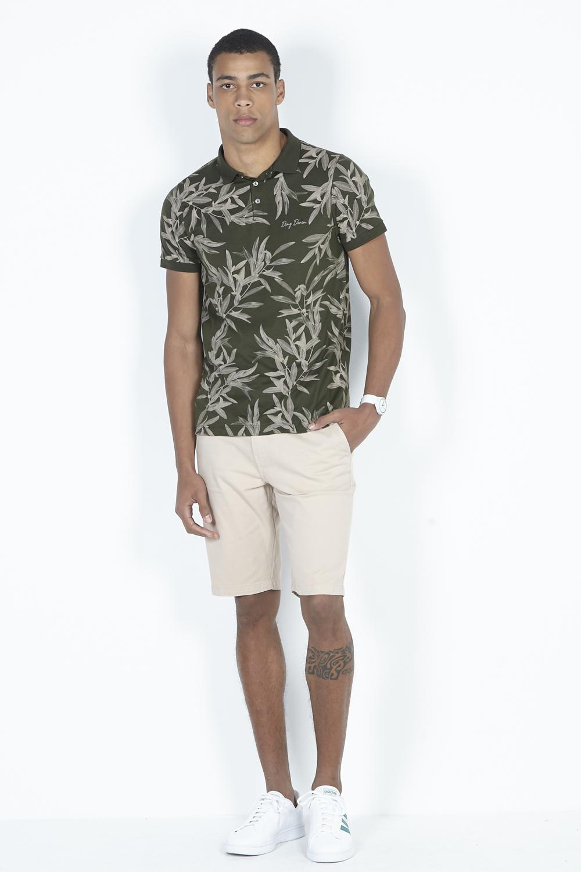 Camisa Polo Masculina Meia Malha Estampa Full Print Dimy