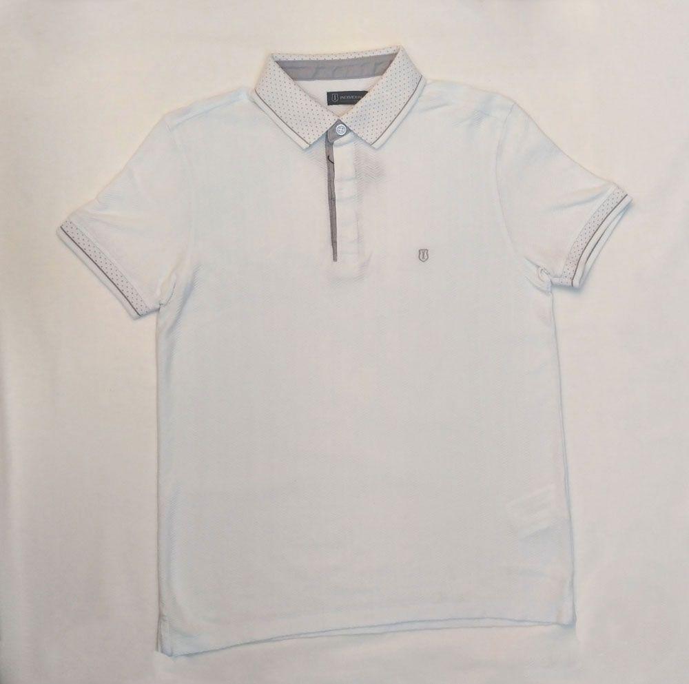 Camisa Polo Masculina Slim Fit  Jacquard Chevron Branca Textura Individual