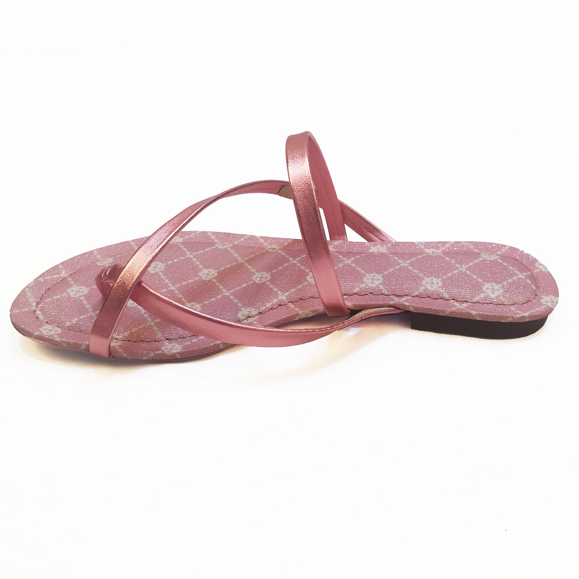 Sandália Rasteira Soft Metalizado Rosa Capodarte