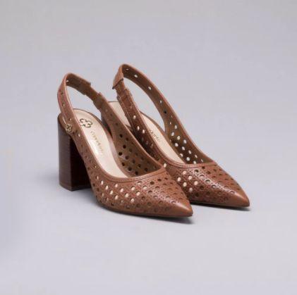 Sapato Scarpin Couro Caramelo Capodarte