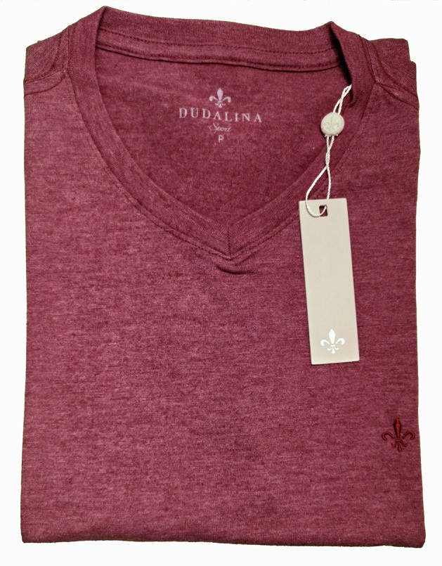 T-Shirt Camiseta Gola V Basíca Bordô Mesclado  Dudalina