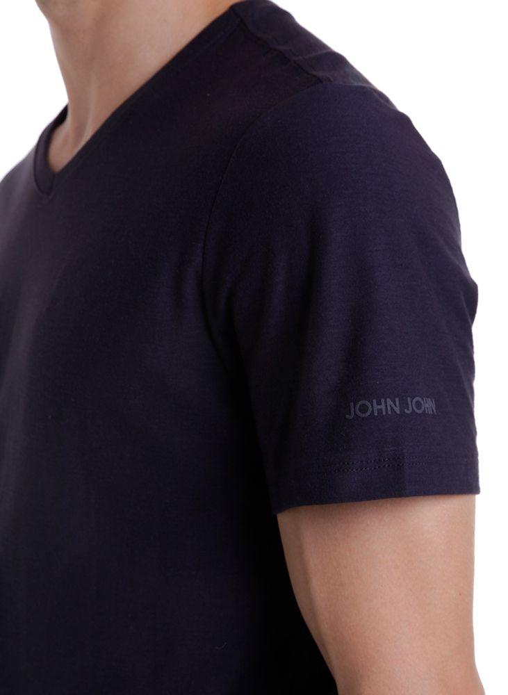 T-shirt Camiseta gola V Slub Basic Masculina JOHN JOHN