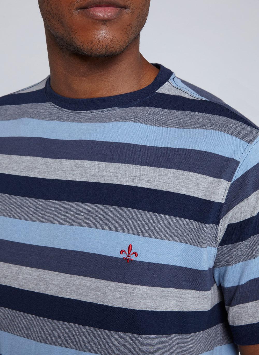 T-Shirt Camiseta Masculina MC Meia Malha Listrado Dudalina
