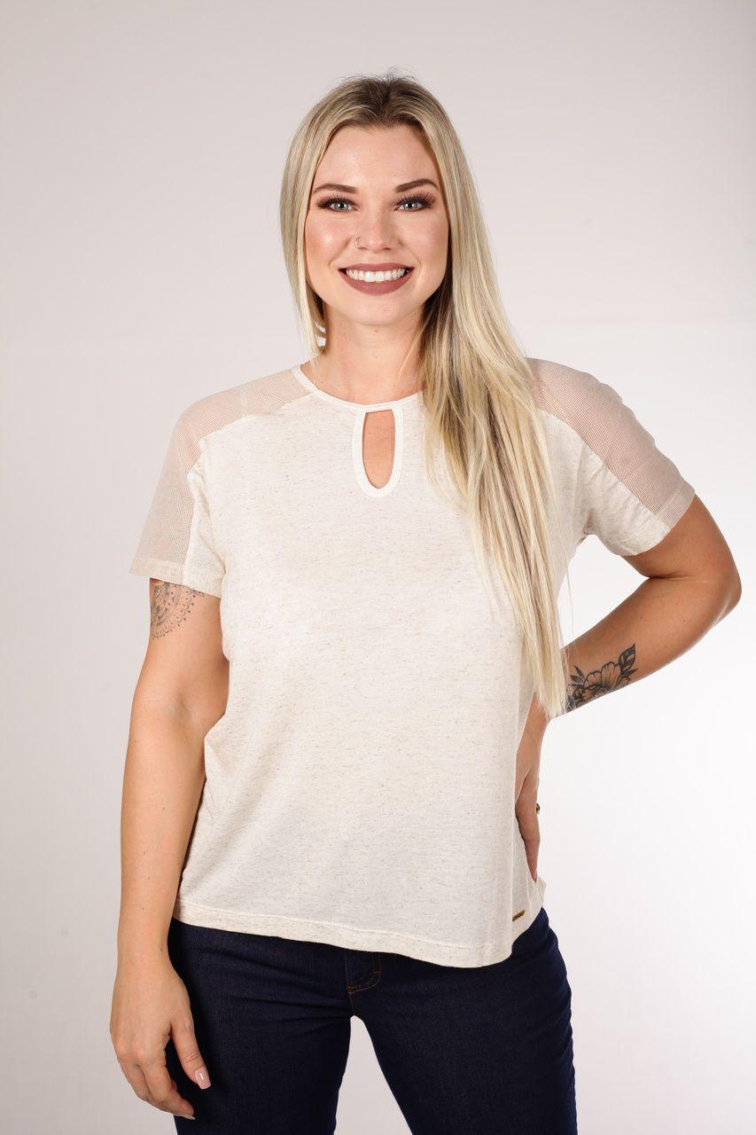 T-shirt Composê de Tecidos Smel