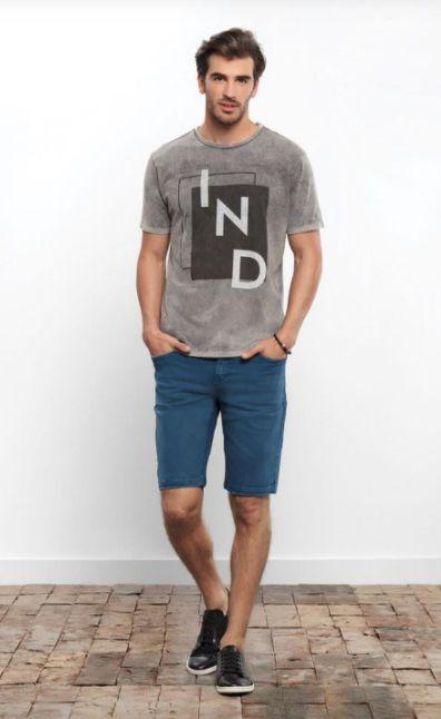T-shirt Slim Fit Malha Mescla com Estampa Individual