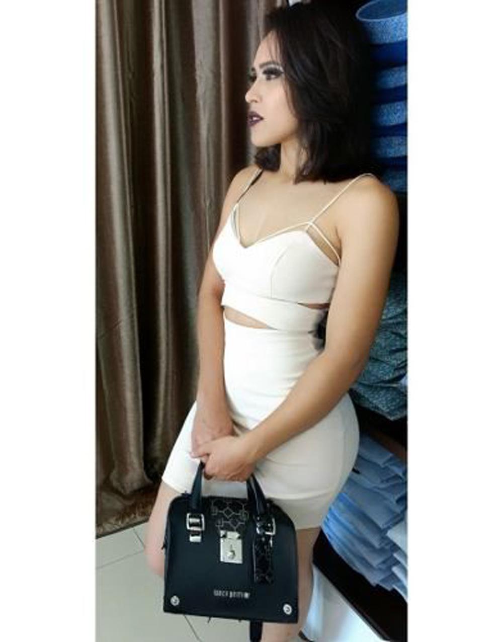 Vestido Curto Cut Off Nude MyFT