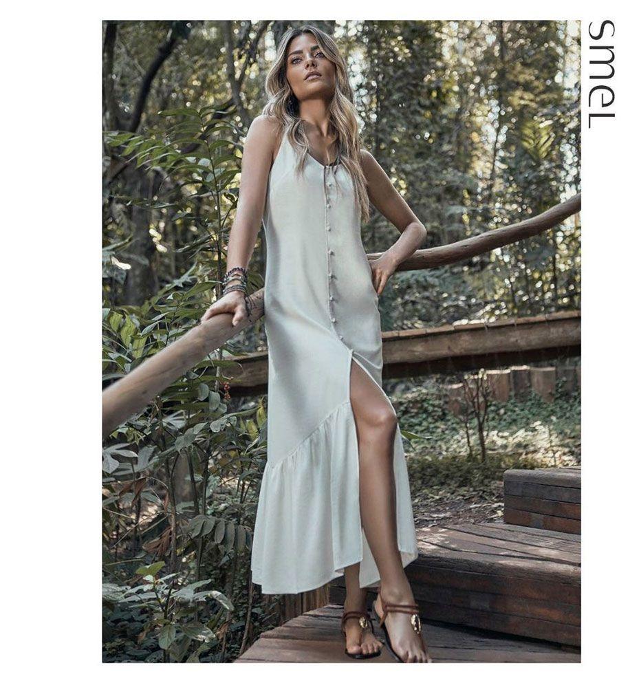 Vestido Midi Abotoamento Branco Smel