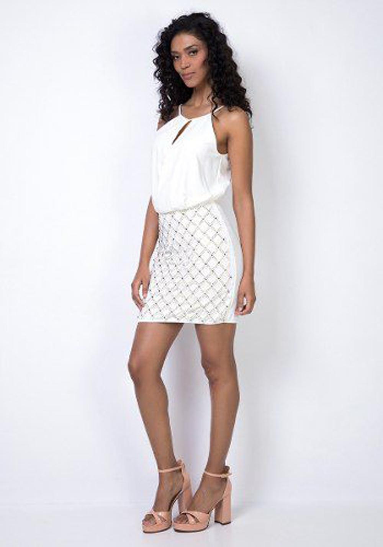 Vestido Off White Blusa Transpassada Lança Perfume