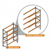 Porta Paletes Complementar 3.00x2.30x1.00 - 4 Níveis 2.000 Kg