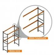 Porta Paletes Complementar 4.00x2.30x1.00 - 2 Níveis 500 Kg