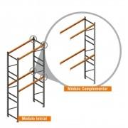 Porta Paletes Complementar 5.00x2.30x1.00 - 2 Níveis 500 Kg
