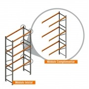 Porta Paletes Complementar 6.00x2.30x1.00 - 3 Níveis 500 Kg