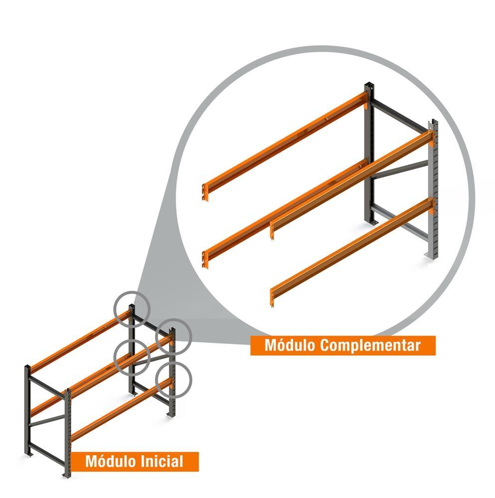 Porta Paletes Complementar 2.00x2.30x1.00 - 2 Níveis 500 Kg