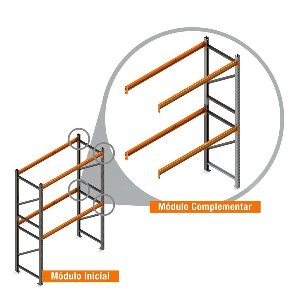 Porta Paletes Complementar 3.00x2.30x1.00 - 2 Níveis 500 Kg