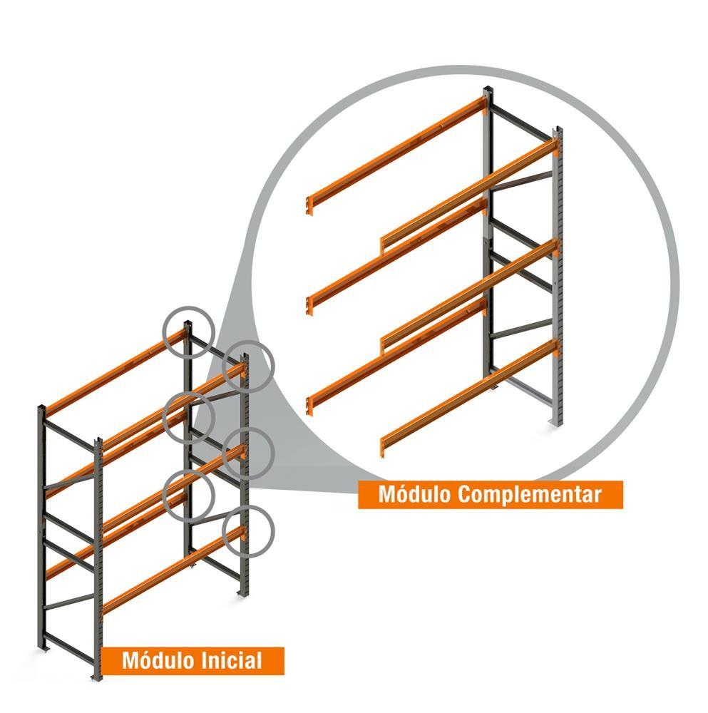 Porta Paletes Complementar 4.00x2.30x1.00 - 3 Níveis 500 Kg