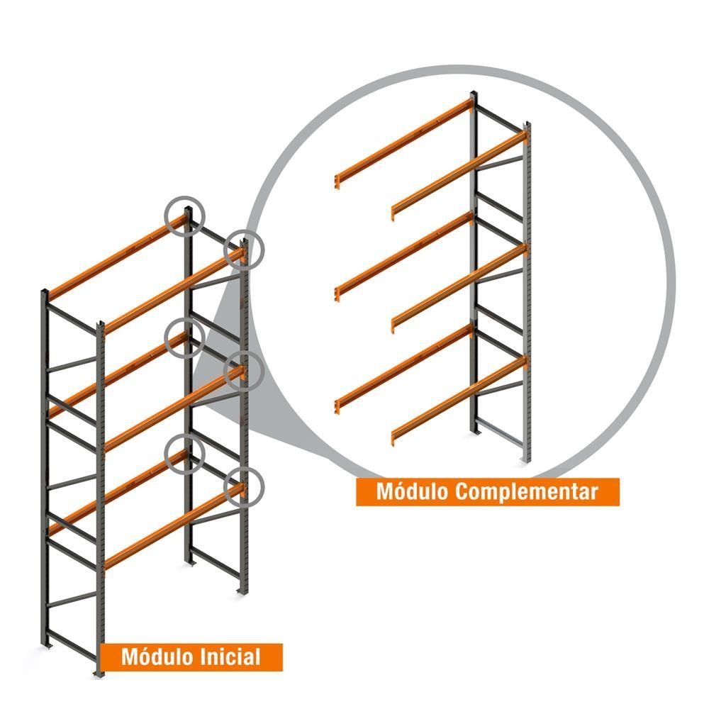 Porta Paletes Complementar 5.00x1.22x1.00 - 3 Níveis 2.000 Kg