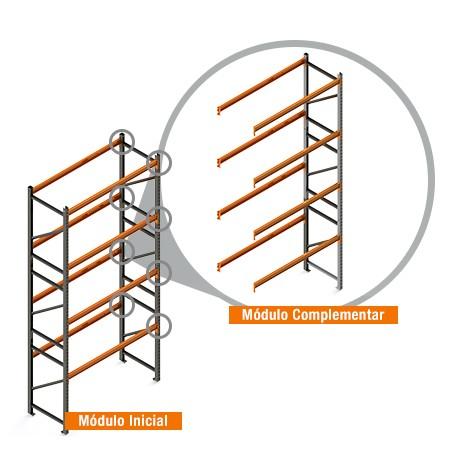 Porta Paletes Complementar 5.00x1.22x1.00 - 4 Níveis 1.000 Kg