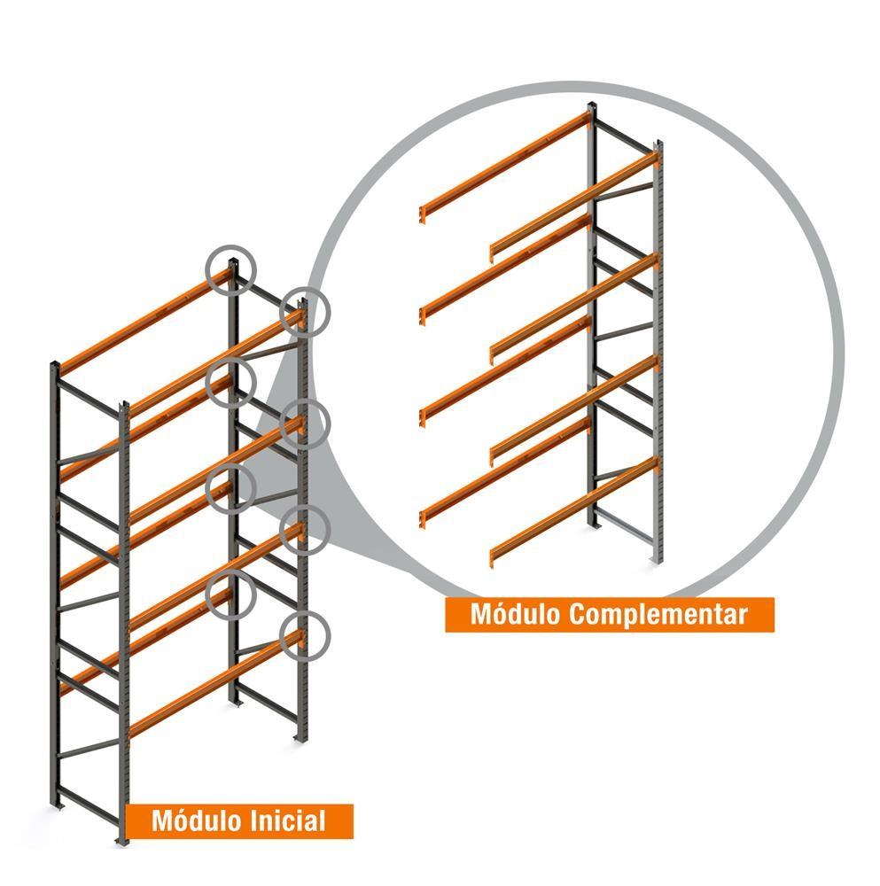 Porta Paletes Complementar 5.00x2.30x1.00 - 4 Níveis 500 Kg