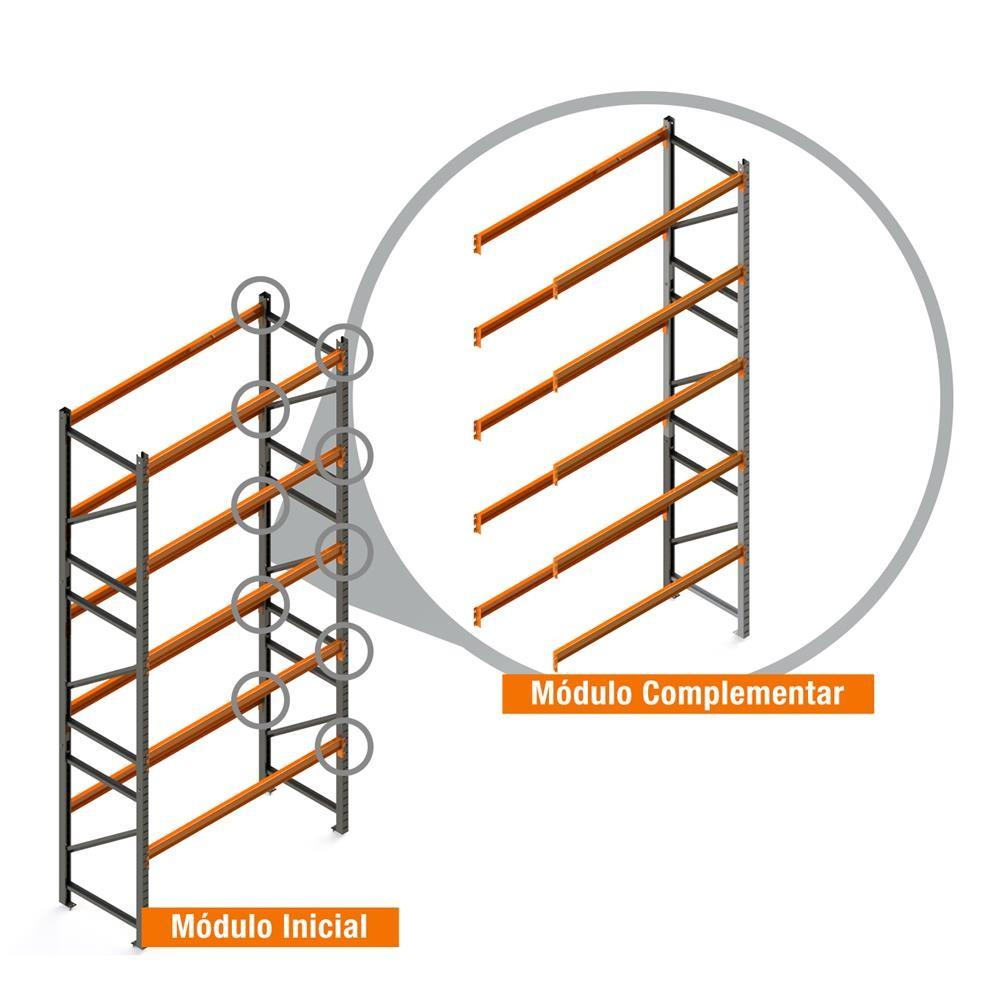 Porta Paletes Complementar 5.00x2.30x1.00 - 5 Níveis 2.000 Kg