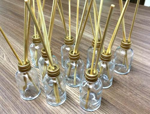 30 Difusores Vidro Redondo 30ml+Tampa+Varetas+1 Litro de Aromatizante Pronto Bamboo