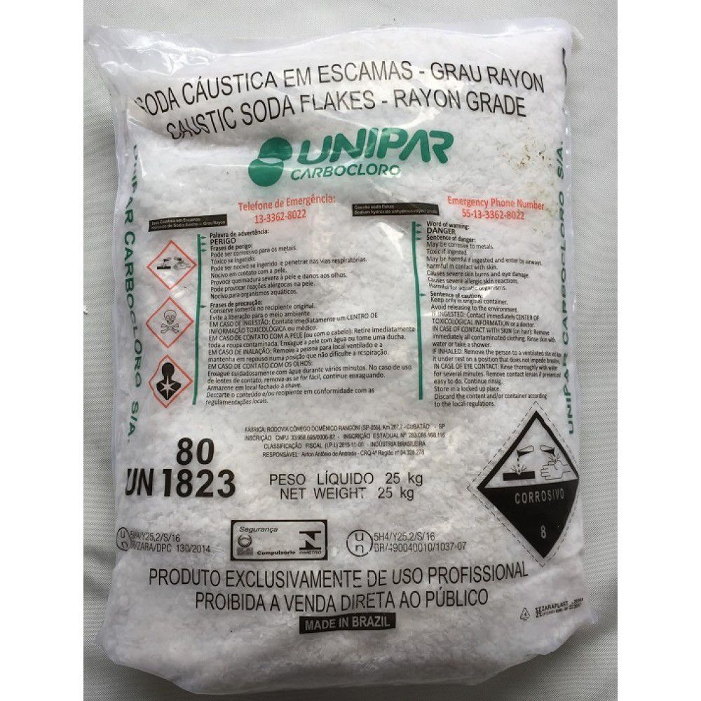 SODA CAUSTICA 99% ESCAMAS - 25 KG
