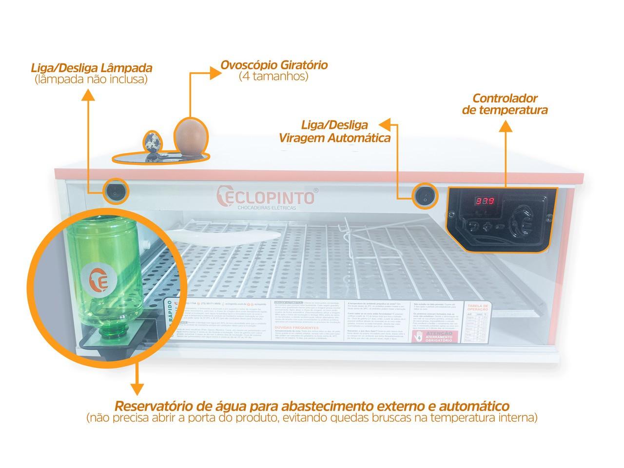 Chocadeira Automática - 100 Ovos + Ovoscópio e Água Automática
