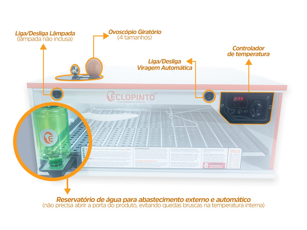 Chocadeira Automática - 90 Ovos + Ovoscópio e Água Automática